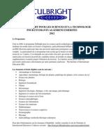 Bourse Fulbright Pour Les Sciences Et La Technologie Pour Etudiants Algeriens Emerites 2012