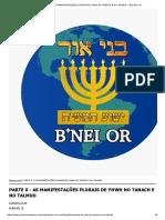 PARTE X - AS MANIFESTAÇÕES PLURAIS DE YHWH NO TANACH E NO TALMUD __ Beit B'nei Or
