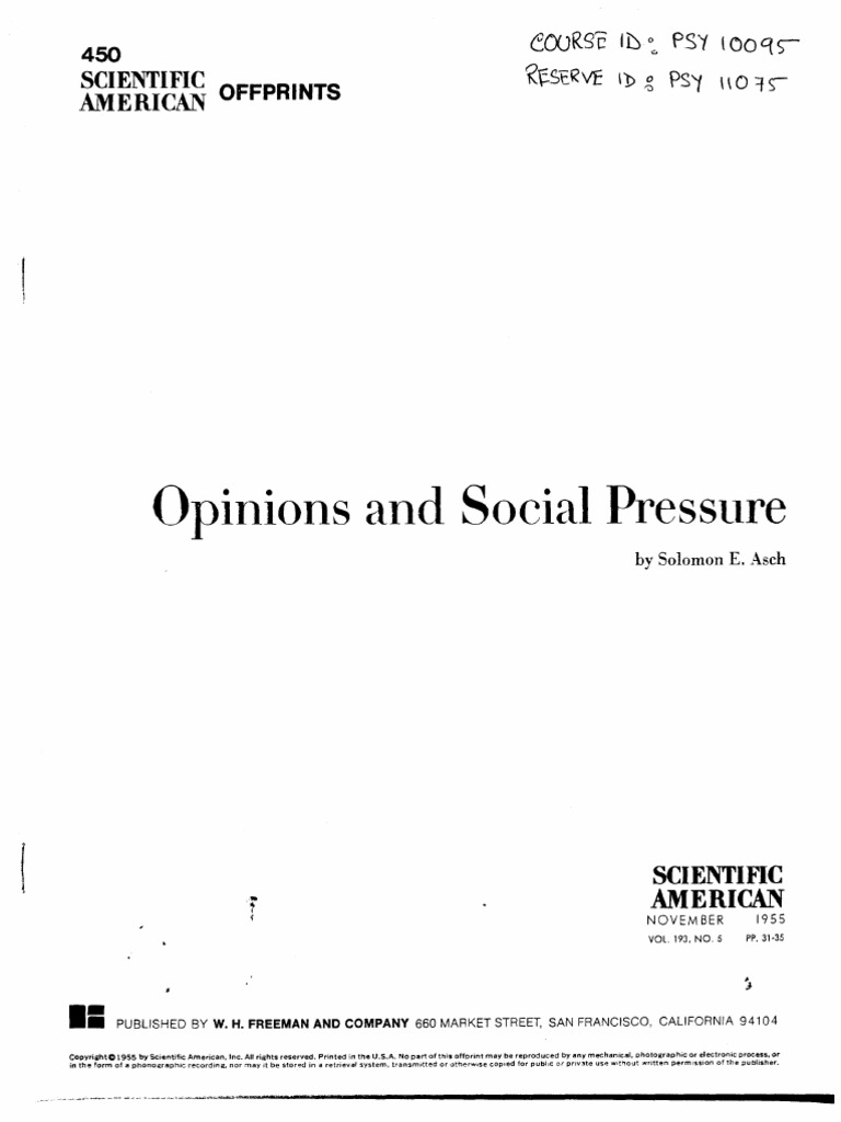 solomon asch opinions and social pressure