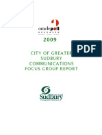 Leaked 2009 Oracle Poll City of Sudbury Communications Focus Group Report