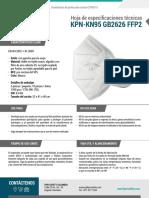 Ficha Tecnica ES KPN KN95 GB2626 FFP2 Covid 19