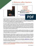 Manifeste de l Abbe Schoonbroodt Pour La Diffusion Libre Des 219 Declarations de Mgr Lefebvre