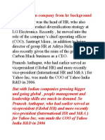 Ceo of Indian Company From Hr Background