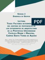 Factores determinantes del sentido de pertenencia de los estudiantes de arquitectura de la Pontificia Universidad Católica Madre y Maestra, Campus Santo Tomás de Aquino