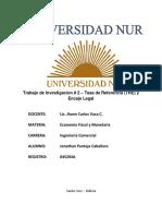 Jonathan Pantoja Caballero - 045204A - Trabajo de Investigacion # 2 - TRe y Encaje Legal