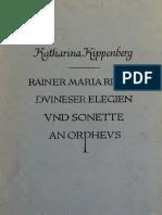 Rilke Duineser Elegien und Sonette an Orpheus by Katharina Kippenberg