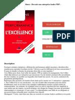 De la performance à l'excellence _ Devenir une entreprise leader PDF - Télécharger, Lire