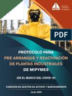 Pre Arranque y Reactivación de Plantas Industriales ACIEM 2020