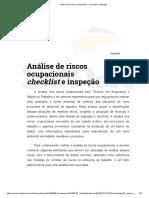 Análise de Riscos Ocupacionais – Checklist e Inspeção