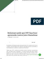 Bolsonaro pede que STF faça busca e apreensão contra Joice