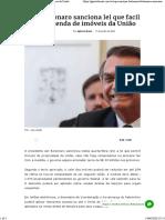 Bolsonaro sanciona lei que facilita venda de imóveis da União