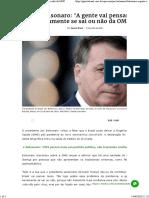Bolsonaro_ 'A gente vai pensar seriamente se sai ou não da OMS'
