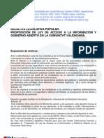 Proposición de Ley de Acceso a la Información y Gobierno Abierto en la Comunitat Valenciana