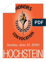 Hochstein Honors Convocation program