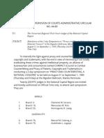 ADMINISTRATIVE SUPERVISION OF COURTS ADMINISTRATIVE CIRCULAR NO. 44-89