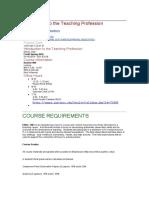 Syllabus for teaching profession