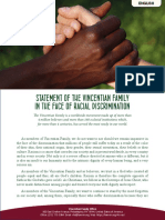 [English]  Statement of the Vincentian Family in the face of racial discrimination