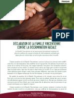 [Français] Déclaration de la Famille Vincentienne contre la discrimination raciale