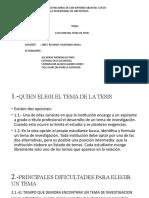 ELECCION DEL TEMA DE TESIS