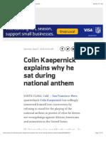 Colin Kaepernick explains why he sat during national anthem