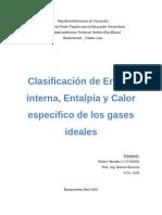 3Clasificación de Energía interna, Entalpía y Calor especifico de los gases ideales.