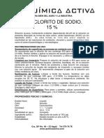 HIPOCLORITO DE SODIO 15 % FICHA TECNICA