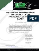 Subversão e normatividade em Cronica de um vagabundo, de Rawet