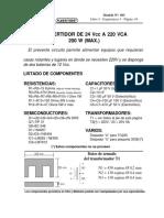 Convertidor de 24 Vcc a 220 Vca 200 w (Max.) Nª 303