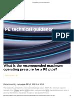 PE pipe & maximum operating pressure