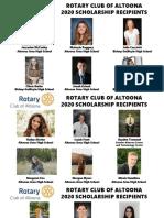 Rotary Club of Altoona 2020 Scholarship Recipients