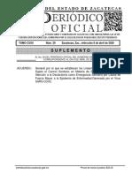 PERIÓDICO OFICIAL COVID 19 ZACATECAS 8 DE ABRIL CXXX SUPL 1_AL _29 AA