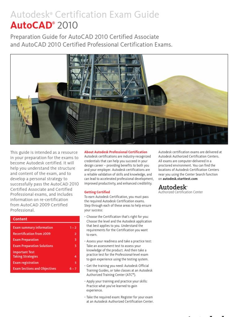 autocad 2010 exam guide final v1 professional certification autodesk rh scribd com