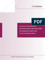 GUIDE DE PREVENTION DES INFECTIONS LIEES AUX SOINS EN MEDECINE DENTAIRE ET EN STOMATOLOGIE
