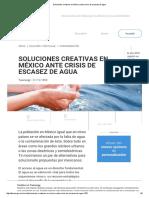 Soluciones creativas en México ante crisis de escasez de agua