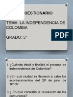 INDEPENDENCIA DE COLOMBIA CUESTIONARIO (1)