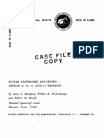 Lunar Landmark Locations - Apollo 8, 10, 11, And 12 Missions