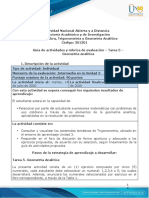 Guia de actividades y Rúbrica de evaluación - Tarea 5 - Geometría analítica