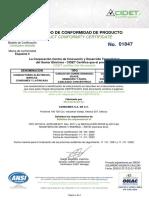 CERTIFICADO CABLE CONCENTRICO, DESNUDO CONDUMEX