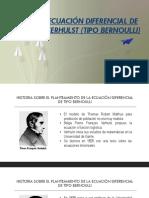 ECUACIÓN DIFERENCIAL DE VERHULST (TIPO BERNOULLI)
