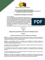 2015 Arrêté N° 13312-2015 relative à la domiciliation et au règlement des Iimportations