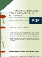 ADECUACIONES CURRICULARES Y PECULIARIDADES DE LOS ESTUDIANTES