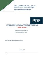 Introd in Parinti filocalici, Anul II, I.docx