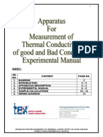 Apparatus For Measurement of Thermal Conductivity of good and Bad Conductors Manual F