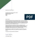 Carta Presidente Castejon