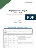 Japan FY 2011 Budget