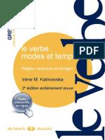 Le Verbe Modes Et Temps - Irène M. Kalinowska