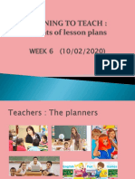 Week 6 Planning to Teach (Formats of Lesson Plan)