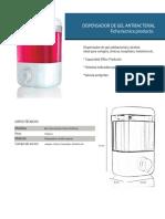 ficha tecnica dispensador gel antibacterial
