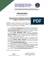 Pengumuman Uji Keshtn Sipenmaru Susulan Prodi D-4 Kes. 7-1-11