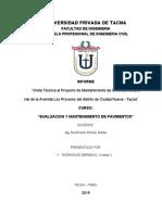 """""""Visita Técnica al Proyecto de Mantenimiento de la infraestructura vial de la Avenida Los Próceres del distrito de Ciudad Nueva - Tacna"""